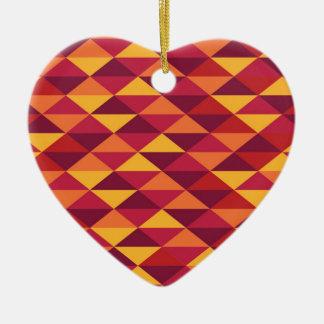 Ornamento De Cerâmica Pattern Triangles Orange - Padrão vermelho