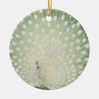 Ornamento De Cerâmica Pavão branco japonês das belas artes | do vintage