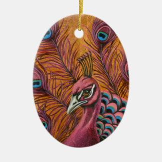 Ornamento De Cerâmica Pavão cor-de-rosa