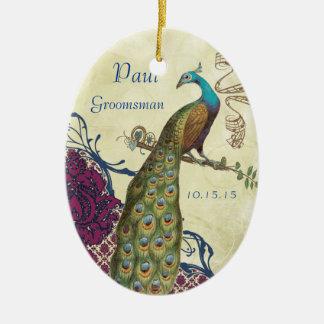 Ornamento De Cerâmica Pavão do vintage do marinho & da framboesa do