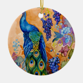 Ornamento De Cerâmica Pavão e uvas