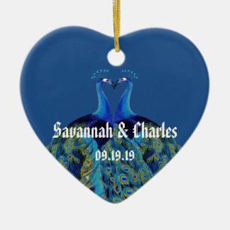 Ornamento De Cerâmica Pavões do vintage que beijam presentes de