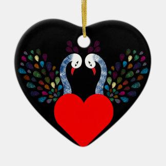 Ornamento De Cerâmica pecock 3 do amor
