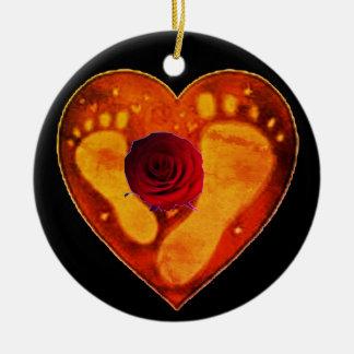 Ornamento De Cerâmica Pegadas da mãe e do bebê