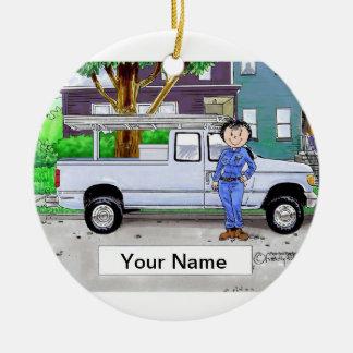 Ornamento De Cerâmica Pegare o caminhão, azul - fêmea