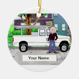 Ornamento De Cerâmica Pegare o caminhão, branco - homem