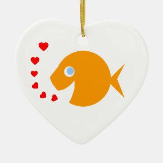 Ornamento De Cerâmica Peixe dourado bonito dos desenhos animados com os