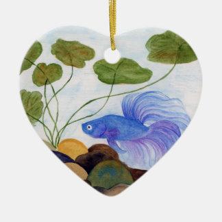 Ornamento De Cerâmica Peixes azuis de Betta