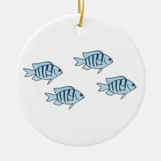 Ornamento De Cerâmica Peixes azuis pequenos bonitos do recife de corais