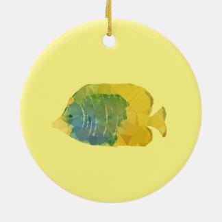 Ornamento De Cerâmica Peixes geométricos