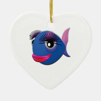 Ornamento De Cerâmica peixes grandes azuis dos lábios
