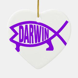 Ornamento De Cerâmica Peixes originais de Darwin (roxos)