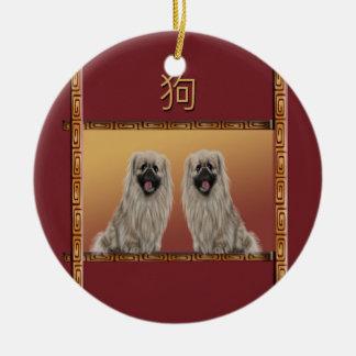 Ornamento De Cerâmica Pekingese no ano novo chinês do design asiático,