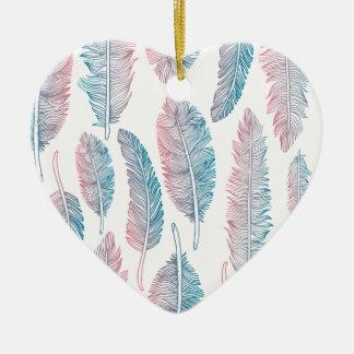 Ornamento De Cerâmica Pena cor-de-rosa azul Handdrawn da aguarela do