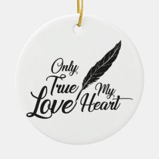 Ornamento De Cerâmica Pena verdadeira do amor da ilustração