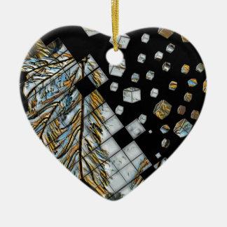 Ornamento De Cerâmica Penas abstratas cubadas
