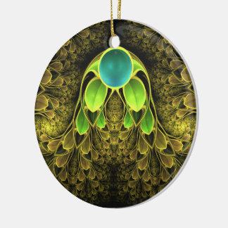 Ornamento De Cerâmica Penas bonitas do Fractal do pássaro de quetzal