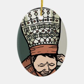 Ornamento De Cerâmica Pensamento asiático central da mulher (no chapéu)
