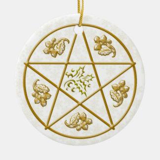 Ornamento De Cerâmica Pentacle, azevinho & carvalho do ouro