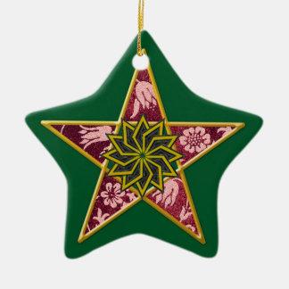 Ornamento De Cerâmica Pentagram - ouro & vermelho no verde