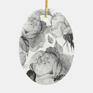 Ornamento De Cerâmica peônia cinzenta