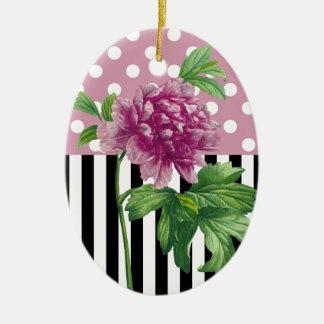 Ornamento De Cerâmica Peônia cor-de-rosa artística