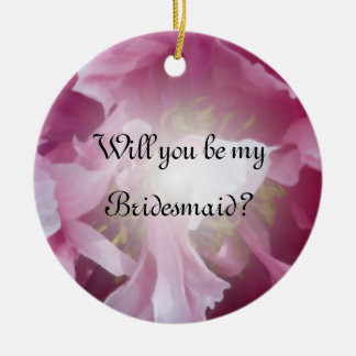 Ornamento De Cerâmica Peônia cor-de-rosa você será minha dama de honra
