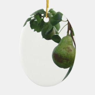 Ornamento De Cerâmica Peras verdes que penduram em uma árvore de pera