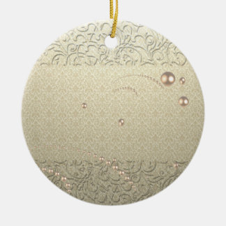 Ornamento De Cerâmica Pérolas chiques elegantes do laço do damasco