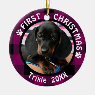Ornamento De Cerâmica Persiga o primeiro Natal xadrez cor-de-rosa e