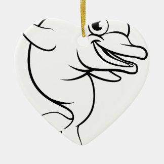 Ornamento De Cerâmica Personagem de desenho animado do golfinho