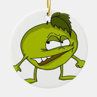 Ornamento De Cerâmica Personagem de desenho animado verde da maçã com um