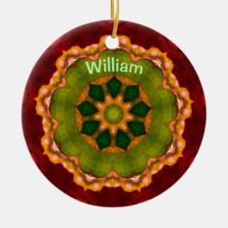 Ornamento De Cerâmica ~ personalizado ~ do Fractal da flor do Natal de