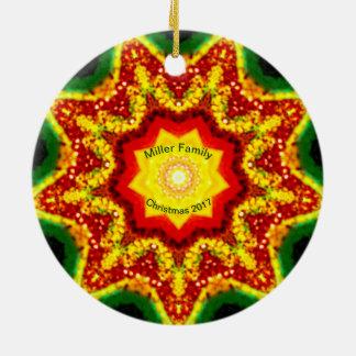 Ornamento De Cerâmica ~ personalizado ~ do Fractal do Natal da FAMÍLIA