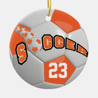 Ornamento De Cerâmica Personalize a laranja da bola de futebol |