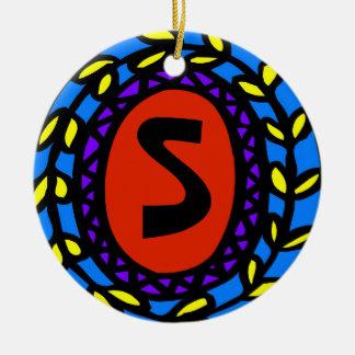 Ornamento De Cerâmica Personalize inicial, mude o texto