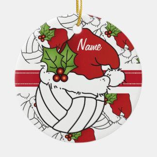 Ornamento De Cerâmica Personalize o voleibol do Natal do chapéu do papai