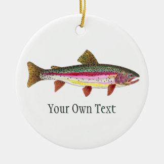 Ornamento De Cerâmica Pesca com mosca da truta de arco-íris, dobrando,