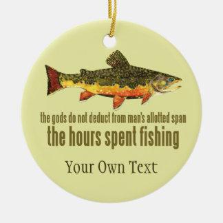 Ornamento De Cerâmica Pescador da pesca com mosca da truta de ribeiro