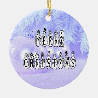 Ornamento De Cerâmica Pessoas da pia batismal da neve do Feliz Natal,