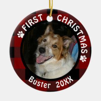 """Ornamento De Cerâmica Pet o """"primeiro Natal"""" 2-Sided 2-Photo vermelho &"""