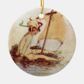 Ornamento De Cerâmica Peter Pan na jangada do ninho