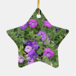 Ornamento De Cerâmica Petúnia roxo do tema do jardim do primavera das