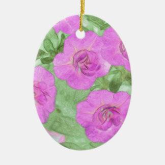 Ornamento De Cerâmica Petúnias pintados