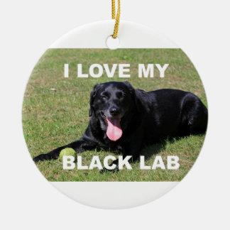 Ornamento De Cerâmica PIC preto de w do amor do laboratório