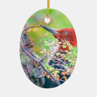 Ornamento De Cerâmica Pica-pau em Pecking da floresta
