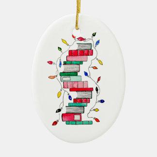 Ornamento De Cerâmica Pilha de livro festiva