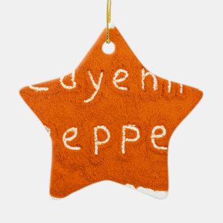Ornamento De Cerâmica Pimenta de caiena da palavra escrita no pó