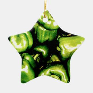 Ornamento De Cerâmica Pimentas de Bell verdes