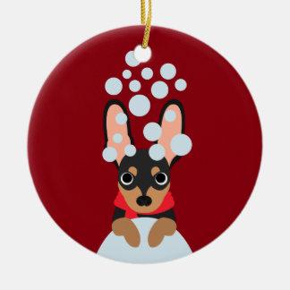 Ornamento De Cerâmica Pin do minuto do cão da neve